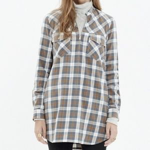 Madewell Tunic Zip-Front Popover Moss Point Plaid
